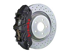 Brembo GT-S Series 6-Piston Front Big Brake Kit with 14-Inch 1-Piece Cross Drilled Rotors; Black Hard Anodized Calipers (05-14 Standard GT, V6)