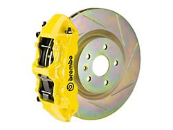 Brembo GT Series 6-Piston Front Big Brake Kit with 14-Inch 1-Piece Type 1 Slotted Rotors; Yellow Calipers (05-14 Standard GT, V6)