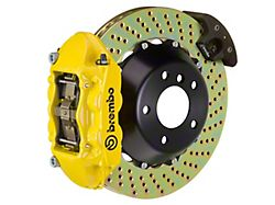 Brembo GT Series 4-Piston Rear Big Brake Kit with 15-Inch 2-Piece Cross Drilled Rotors; Yellow Calipers (15-21 GT, EcoBoost, V6)