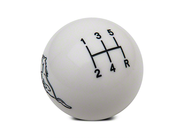 Modern Billet Retro Style 5-Speed Shift Knob w/ Running Pony Logo - White (79-04 All, Excluding 03-04 Cobra)