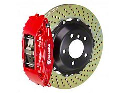 Brembo GT Series 4-Piston Front Big Brake Kit with 14-Inch 2-Piece Cross Drilled Rotors; Red Calipers (94-04 All)