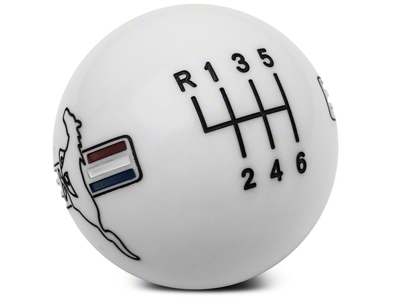 Modern Billet Retro Style 6-Speed Shift Knob w/ Tri-Bar Pony Logo - White (11-14 GT, V6)