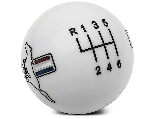 Modern Billet Retro Style 6-Speed Shift Knob w/ Tri-Bar Pony Logo; White (11-14 GT, V6)