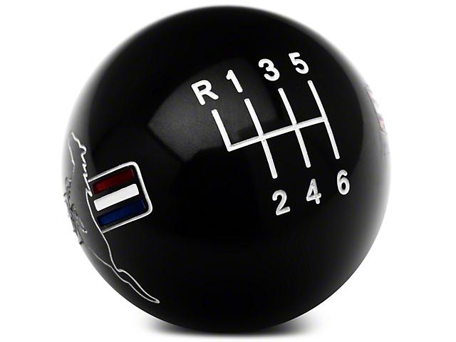 Modern Billet Retro Style 6-Speed Shift Knob w/ Tri-Bar Pony Logo; Black (11-14 GT, V6)