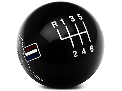 Modern Billet Retro Style 6-Speed Shift Knob w/ Tri-Bar Pony Logo - Black (11-14 GT, V6)