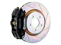Brembo GT Series 4-Piston Front Big Brake Kit with 13-Inch 1-Piece Type 1 Slotted Rotors; Black Calipers (94-04 All)