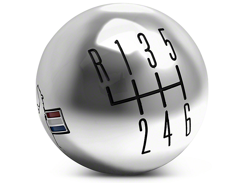 Modern Billet Retro 6-Speed Shift Knob w/ Tri-Bar Logo - Chrome (11-14 GT, V6)