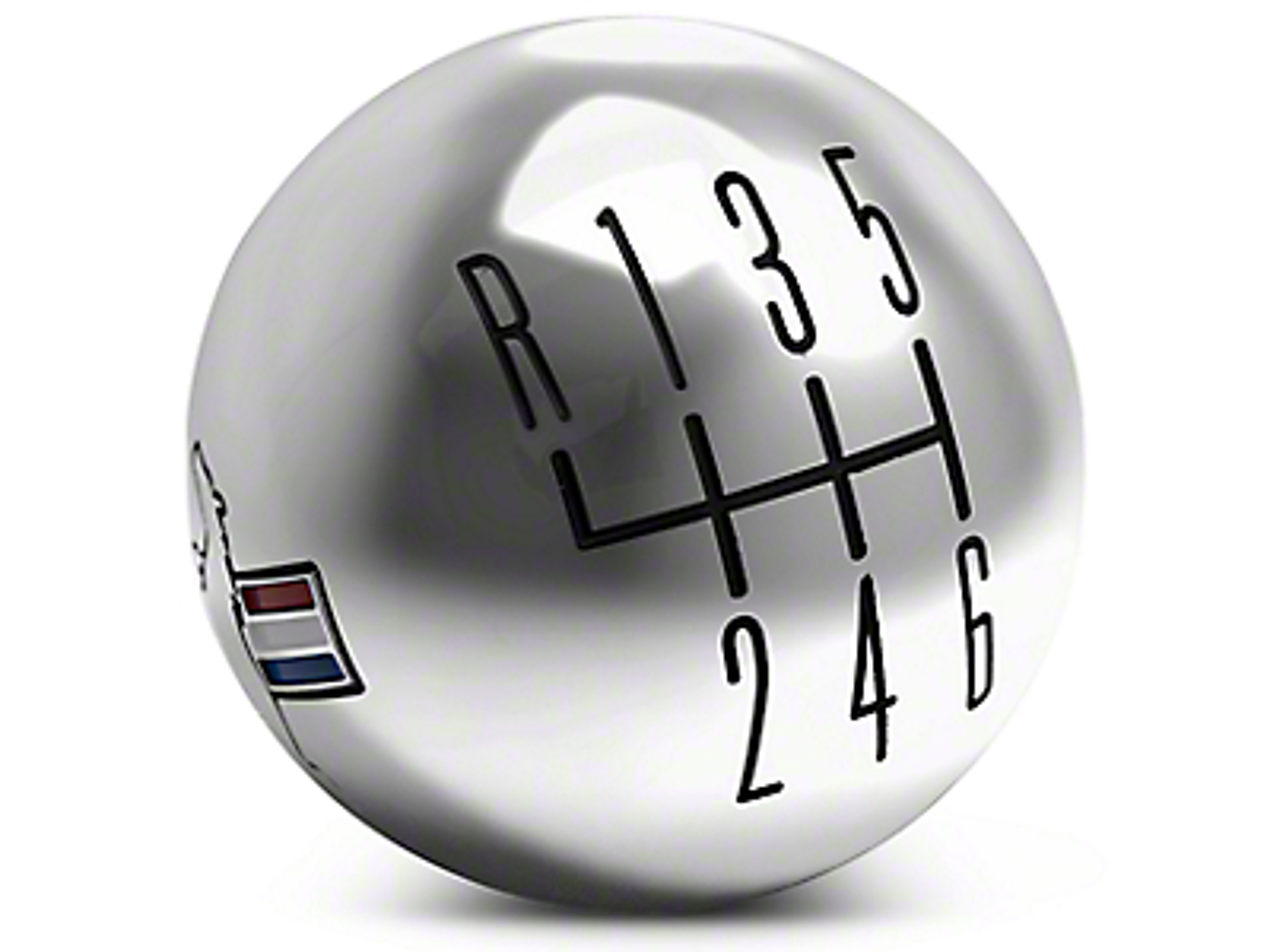 Modern Billet Retro 6-Speed Shift Knob w/ Tri-Bar Logo - Chrome (11-14 GT, V6)