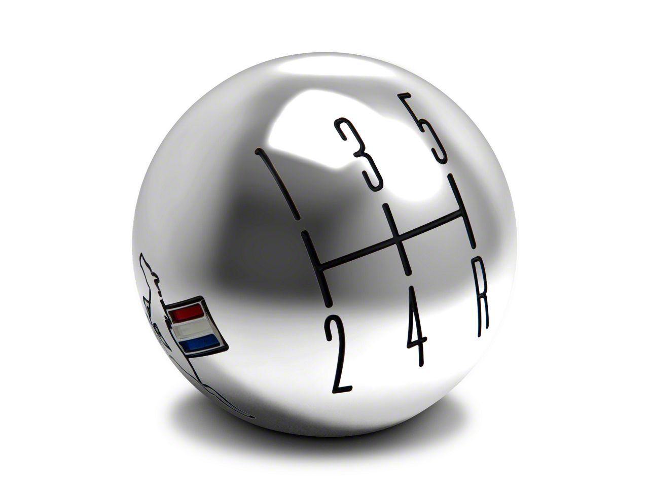 Modern Billet 2010 Style Shift Knob w/ Tri-Bar Logo - Chrome (05-10 GT, V6)