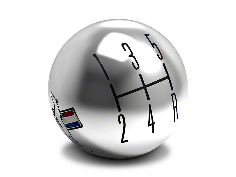 Modern Billet 2010 Style Shift Knob w/ Tri-Bar Logo - Chrome (05-10 GT, V6)