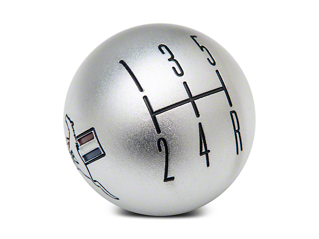 Modern Billet 2010 Style Shift Knob w/ Tri-Bar Logo; Satin (05-10 GT, V6)