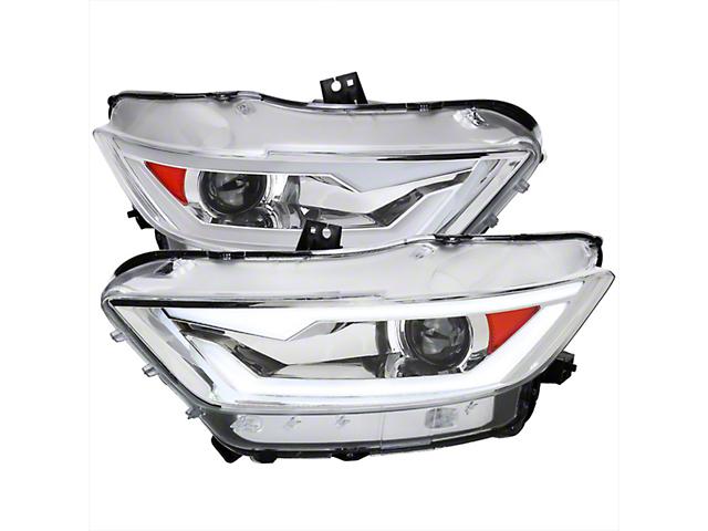 LED Bar Projector Headlights; Chrome Housing; Clear Lens (15-17 All; 18-21 GT350, GT500)