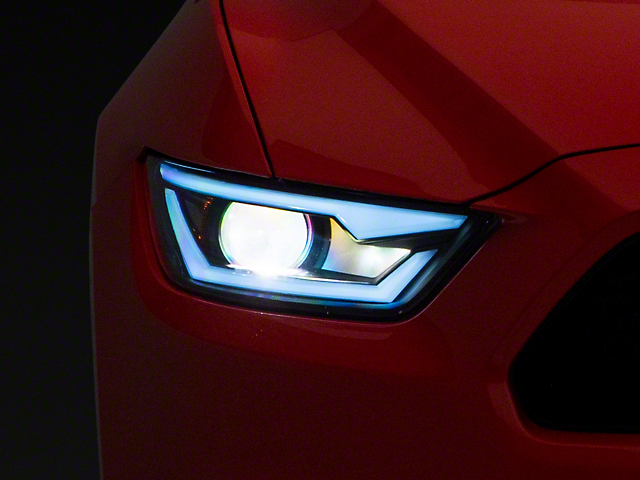 LED Bar Projector Headlights; Matte Black Housing; Clear Lens (15-17 All; 18-21 GT350, GT500)
