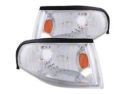 Euro Style Corner Lights; Chrome Housing; Clear Lens (94-98 All)