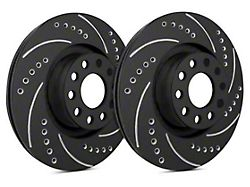 SP Performance Cross-Drilled and Slotted Rotors with Black Zinc Plating; Front Pair (11-14 GT Brembo; 12-13 BOSS 302; 07-12 GT500)