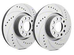 SP Performance Cross-Drilled and Slotted Rotors with Gray ZRC Coating; Front Pair (1979 5.0L; 82-83 All; 84-86 5.0L; 87-93 2.3L)