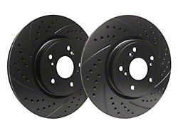 SP Performance Double Drilled and Slotted Rotors with Black Zinc Plating; Front Pair (94-04 GT, V6)