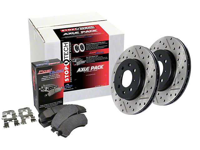StopTech Street Axle Drilled and Slotted Brake Rotor and Pad Kit; Front (13-14 GT500)