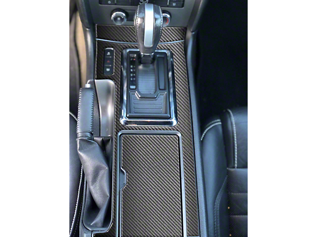 Center Console Shifter Accent Trim; Domed Carbon Fiber (10-14 w/ Automatic Transmission)