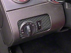 Headlight Switch Accent Trim; Raw Carbon Fiber (05-09 All)
