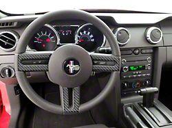 Steering Wheel Accent Trim; Domed Carbon Fiber (05-09 GT, V6)
