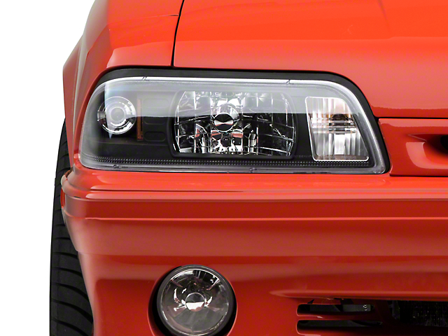 Axial One-Piece Euro Crystal Headlights; Black Housing; Clear Lens (87-93 All)