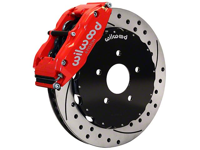 Wilwood Superlite 6R Front Big Brake Kit with 13-Inch Drilled and Slotted Rotors; Red Calipers (05-14 All)