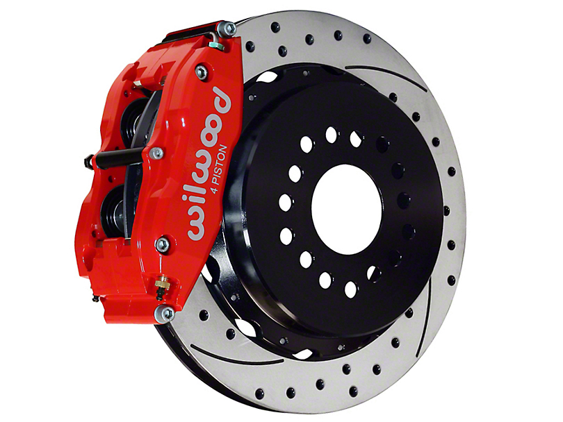 Wilwood Superlite 4R Rear Big Brake Kit w/ Drilled & Slotted Rotors - Red Calipers (05-14 All)
