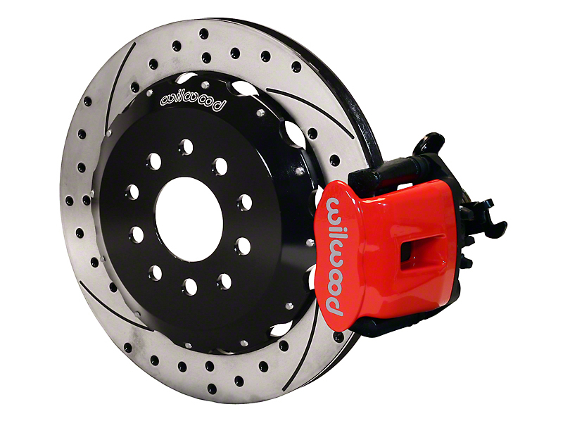 Wilwood CPB Rear Big Brake Kit with Drilled and Slotted Rotors; Red Calipers (94-04 GT, V6)