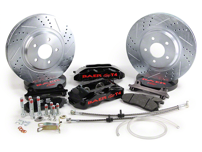 Baer Track-4 Front Big Brake Kit; Black Calipers (94-04 All)