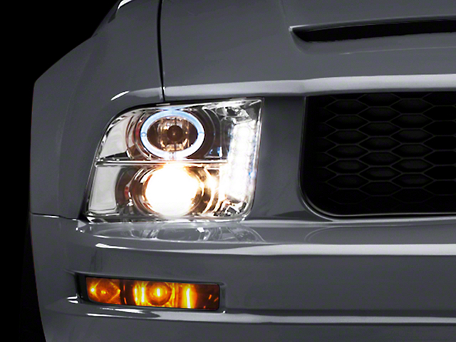 Raxiom Chrome Projector Headlights - LED Halo (05-09 GT, V6)