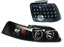 Axial Projector LED Headlight and LED Tail Lights; Smoked (99-04 All, Excluding Cobra)