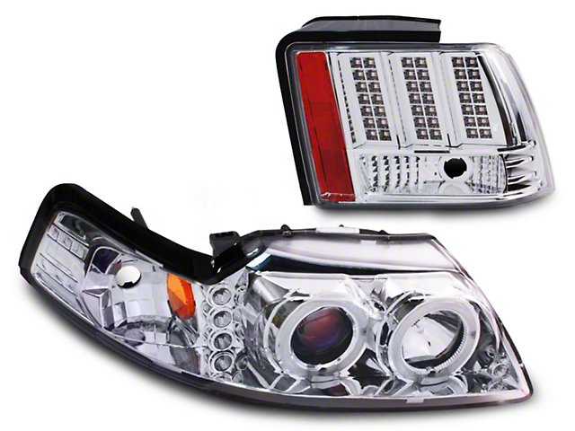 Axial Chrome Projector LED Headlight and LED Tail Light Combo (99-04 All; Excluding Cobra)