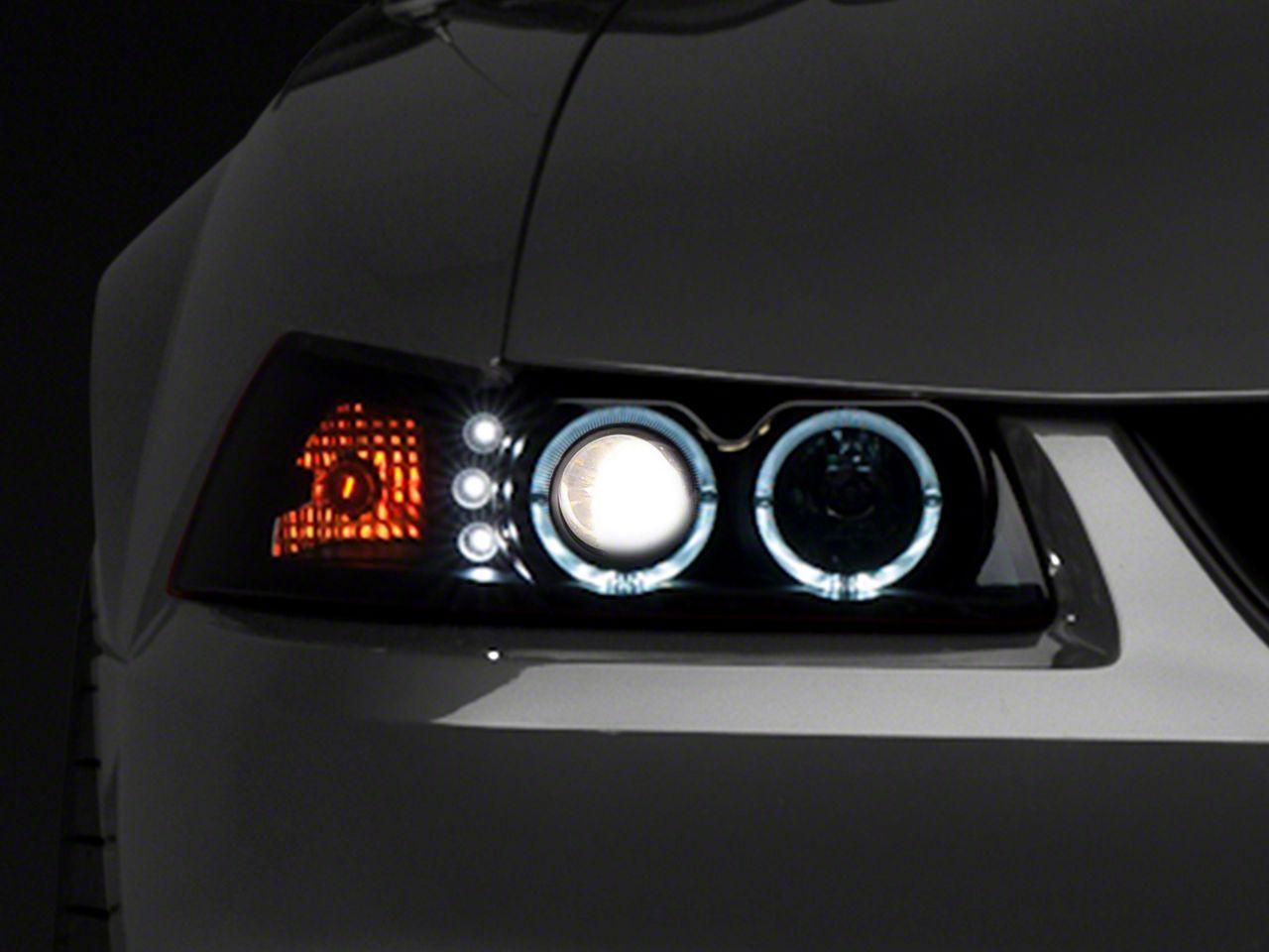 Add Raxiom Smoked Projector Headlights - Dual LED Halo (99-04 All)