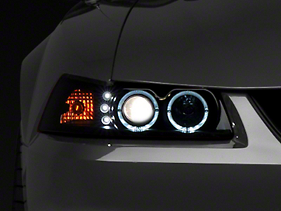 Raxiom Smoked Projector Headlights - Dual LED Halo (99-04 All)