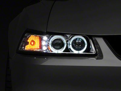 Dual Mustang Halo Projector Headlights LED 9904