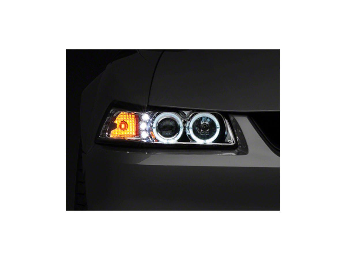 Raxiom Chrome Projector Headlights - Dual LED Halo (99-04 All)