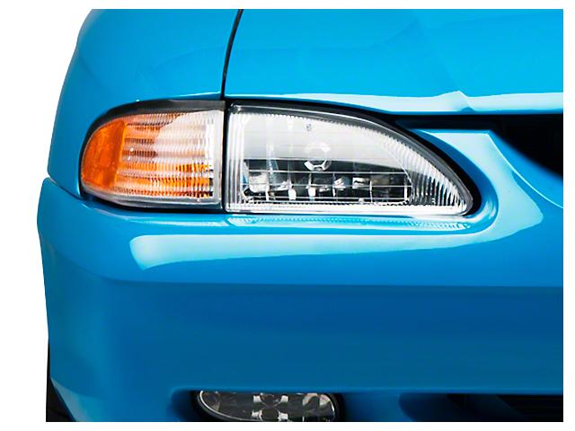 Axial OE Cobra Style Headlights; Chrome Housing; Clear Lens (94-98 All)