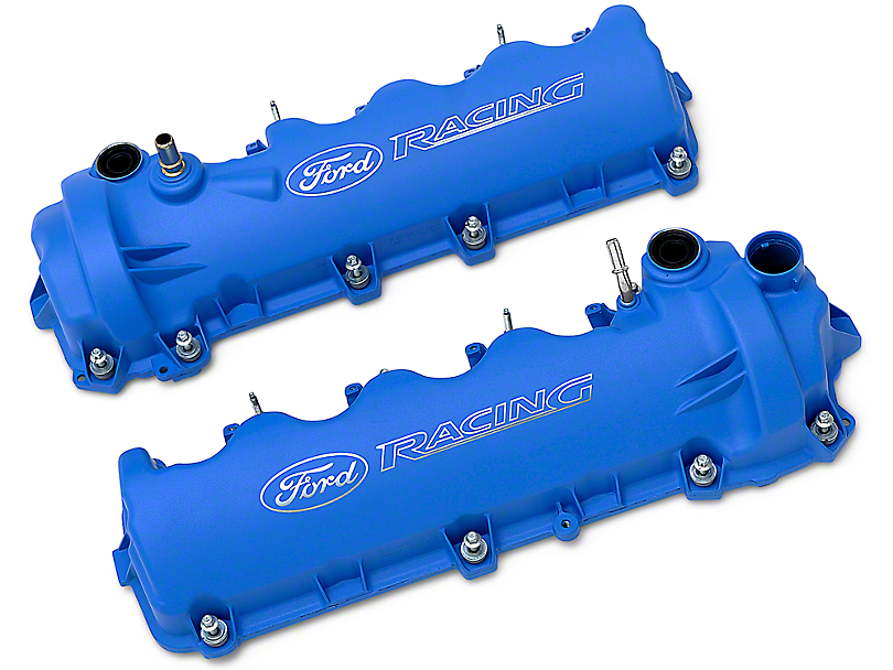 Ford Performance Laser Etched Valve Covers; Blue (05-10 GT)