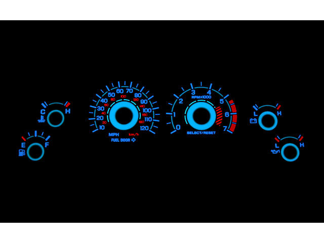 SR Performance Reverse Glow Gauge Insert; White Face (99-04 V6)