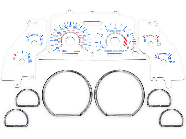 Reverse Glow Gauge Insert with Chrome Rings; White Face (96-98 GT)