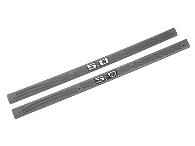 OPR Smoke Gray Door Sill Plates - 5.0 Emblem (87-89 All)