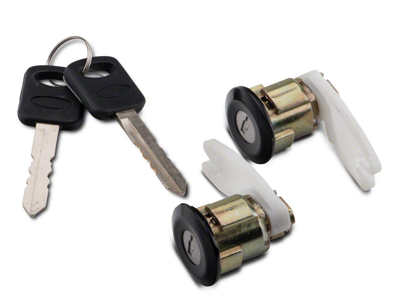 1996-2004 Mustang /& Cobra Outside Door Lock Set LH /& RH W// Black Bezels /& Keys