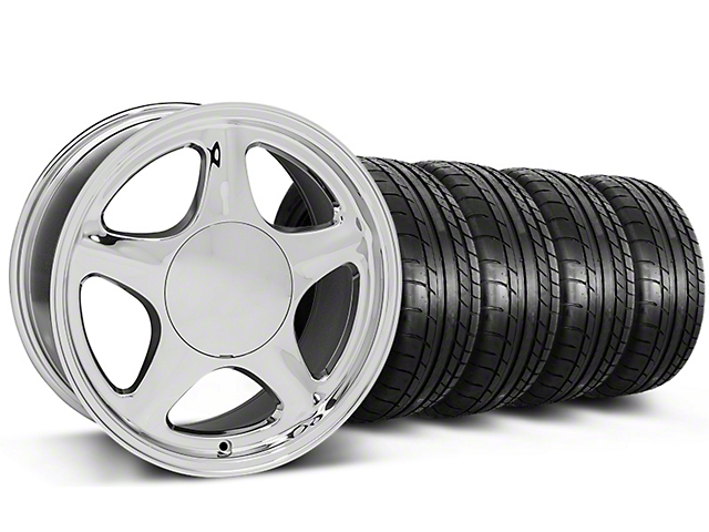 Pony Chrome Wheel & Mickey Thompson Tire Kit - 17x8 (87-93 All, Excluding 1993 Cobra)