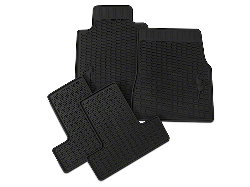Ford All-Weather Front and Rear Floor Mats with Running Pony Logo; Black (05-10 All)