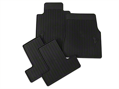 Ford Front & Rear All Weather Floor Mats w/ Running Pony Logo - Black (05-10 All)