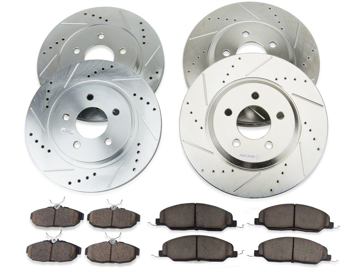 FRONTS 81741 Power Sport Cross Drilled Slotted Brake Rotors and Ceramic Brake Pads Kit