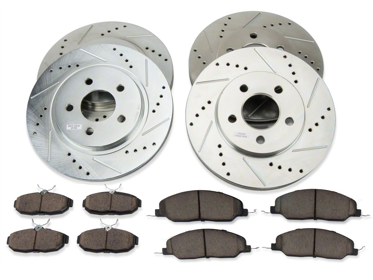 Front+Rear Drill Rotors /& Ceramic Pads for 1999-2004 Ford Mustang *non-SVT Cobra