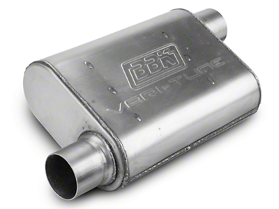 BBK Stainless Steel Varitune Offset/Offset Oval Muffler - 2.5 in. (79-04 All, Excluding 99-04 Cobra)