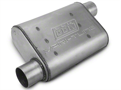BBK Aluminized Varitune Offset/Offset Oval Muffler - 2.75 in. (79-04 All, Excluding 99-04 Cobra)